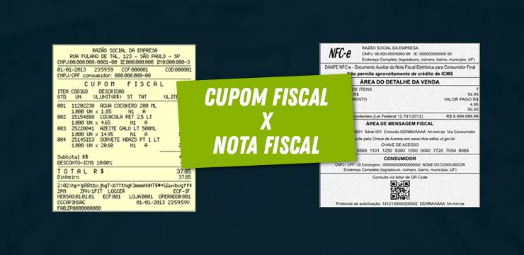 diferença entre cupom fiscal e nota fiscal